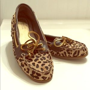 Leopard calf skin women's Sperry 7.5M EUC
